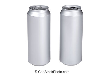 Grey beverage can on white