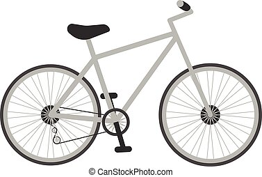 Grey Bicycle For Kids Isolated On A White Background. Vector...