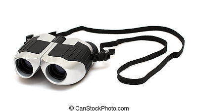 grey binoculars with strap