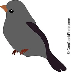 Grey bird, illustration, vector on white background.