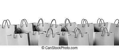 Grey blank shopping bags isolated on white background