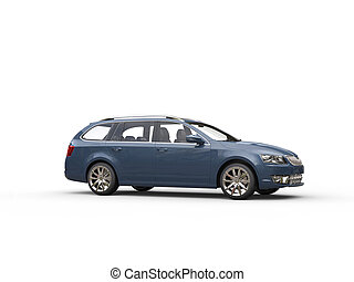 Grey blue family car - side view