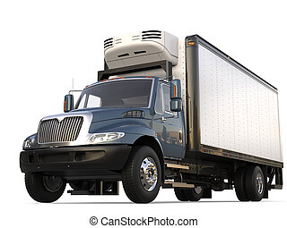 Grey blue modern fridge cargo truck