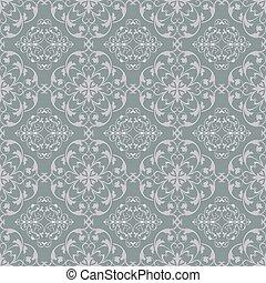 Grey blue seamless vintage vector wallpaper pattern.