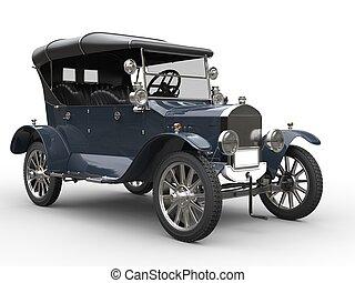Grey blue vintage car