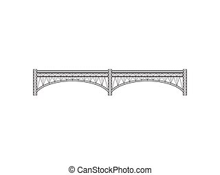 Grey bridge on white background. Vector illustration.