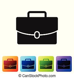 Grey Briefcase icon isolated on white background. Business case sign. Business portfolio. Set icon in color square buttons. Vector Illustration