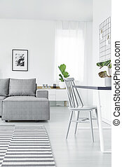 Grey bright open space interior