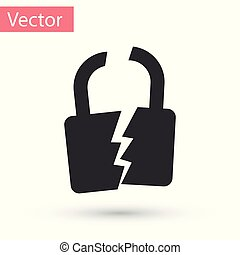 Grey Broken or cracked lock icon isolated on white background. Unlock sign. Vector Illustration