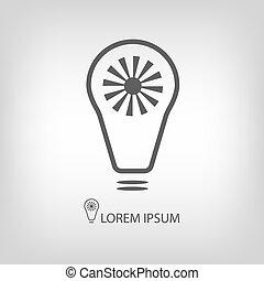 Grey bulb with sun as eco energy symbol