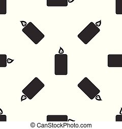 Grey Burning candle icon isolated seamless pattern on white background. Old fashioned lit candle. Cylindrical aromatic candle stick with burning flame. Vector Illustration