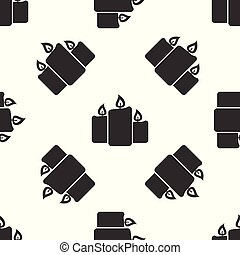 Grey Burning candles icon isolated seamless pattern on white background. Old fashioned lit candles. Cylindrical aromatic candle sticks with burning flames. Vector Illustration