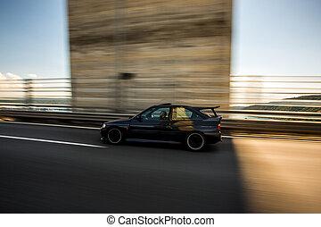 Grey business class coupe sedan speed drive