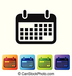 Grey Calendar icon isolated on white background. Set icon in color square buttons. Vector Illustration