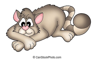 Grey cat - color illustration.