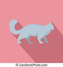 Grey cat icon, flat style