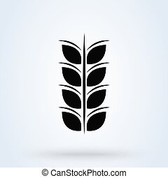 Grey Cereals icon with rice isolated on white background. symbol vector illustration