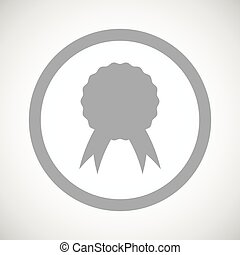 Grey certificate seal sign icon