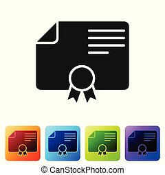 Grey Certificate template icon isolated on white background. Degree icon. Achievement, award, grant, diploma. Business success certificate. Set icon in color square buttons. Vector Illustration