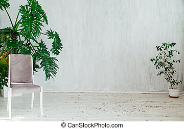 grey chair with home plants in the interior of a vintage gray room