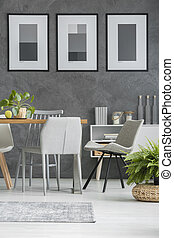 Grey chairs by the table