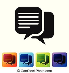 Grey Chat icon isolated on white background. Speech bubbles symbol. Set icon in color square buttons. Vector Illustration