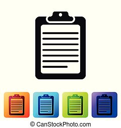 Grey Clipboard with document icon isolated on white background. Set icon in color square buttons. Vector Illustration