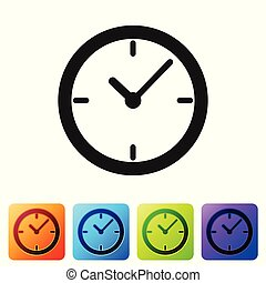 Grey Clock icon isolated on white background. Set icon in color square buttons. Vector Illustration