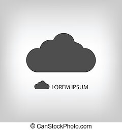 Grey cloud  as logo in grey colors with copyspace
