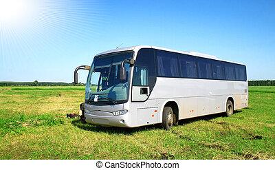 Grey coach - Modern grey coach in a field
