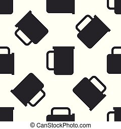 Grey Coffee cup flat icon isolated seamless pattern on white background. Tea cup. Hot drink coffee. Vector Illustration