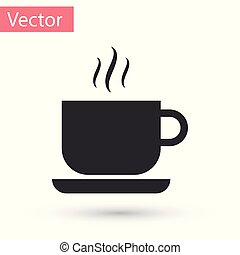 Grey Coffee cup icon isolated on white background. Tea cup. Hot drink coffee. Vector Illustration