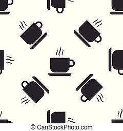 Grey Coffee cup icon isolated seamless pattern on white background. Tea cup. Hot drink coffee. Vector Illustration