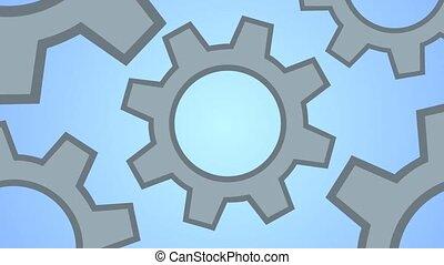 Grey cogs (gears) on blue background. Gears as a single...