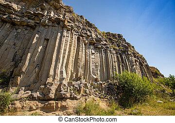 Grey columnar basalt