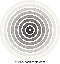 Grey concentric rings. Epicenter theme. Simple flat vector...