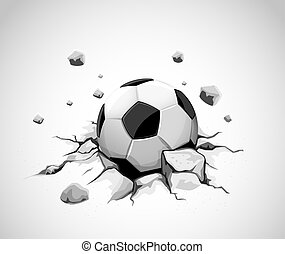 grey concrete ground cracked by soccer ball - vector illustration