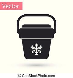 Grey Cooler bag icon isolated on white background. Portable freezer bag. Handheld refrigerator. Vector Illustration