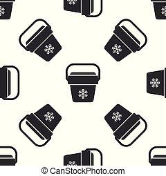 Grey Cooler bag icon isolated seamless pattern on white background. Portable freezer bag. Handheld refrigerator. Vector Illustration