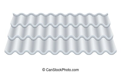 Grey Corrugated Tile Vector. Classic Ceramic Tiles Cover. Fragment Of Roof Illustration.
