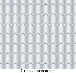 Grey Corrugated Tile Vector. Seamless Pattern. Classic Ceramic Tiles Cover. Fragment Of Roof Illustration.