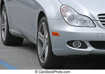 Grey Coupe - A closeup of a  Nice new shiny grey coupe