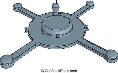 Grey cross-shaped spaceship vector illustration on white background