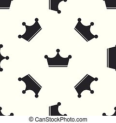 Grey Crown icon isolated seamless pattern on white background. Vector Illustration