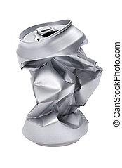 Grey Crumpled beverage can macro