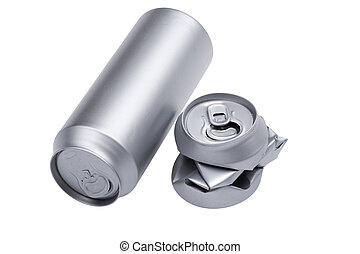 Grey Crumpled beverage can on white