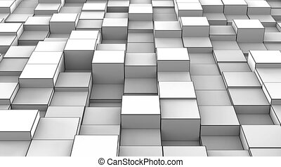 Grey cubes extruding 3D render loopable animation