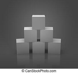 Grey cubes studio shot