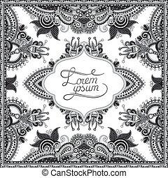 grey decorative pattern of ukrainian ethnic carpet design...