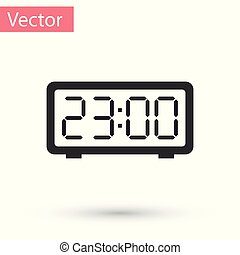 Grey Digital alarm clock icon isolated on white background. Electronic watch alarm clock. Time icon. Vector Illustration
